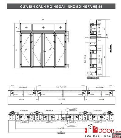 shop drawing cửa nhôm xingfa 4 cánh